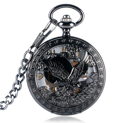 Black Steampunk Skeleton Hand Winding Mechanical Eagle Pocket Watch Pendant
