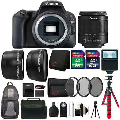 Canon EOS 200D / SL2 24.2MP DSLR Camera + 18-55mm Lens + 24GB Accessory Kit