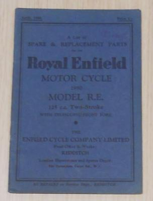 ROYAL ENFIELD R.E Two Stroke 125cc Motorcycle Parts List 1950 -#RE/10M/4/50