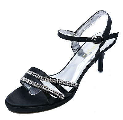 Womens Black Evening Wedding Diamante Sandals Bridesmaid Prom Shoes Sizes 3-8