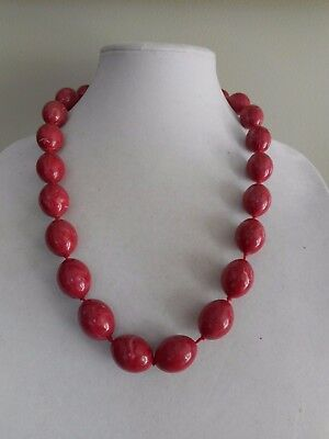 Vintage plastic large and heavy olive marbled beads  knotted necklace,barrel