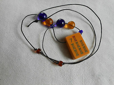 Vintage Chinese Bakelite Mah Jong Tile and glass beads necklace