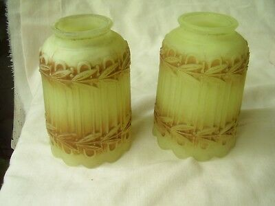 "Pair Antique Custard Glass Lamp Shades 2-1/4"" Fitter"