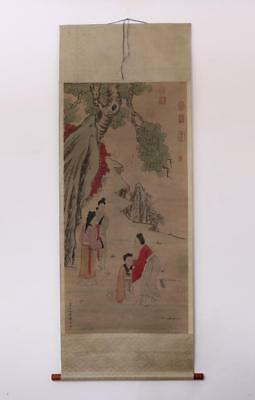 Chou Ying Signed Old Chinese Hand Painted Calligraphy Scroll w/Lady