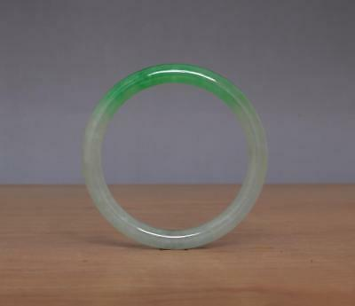 Chinese Natural Green White Jadeite Jade Bangle Bracelet 58MM