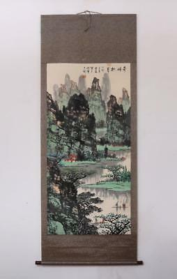 Bai Xueshi Signed Old Chinese Hand Painted Calligraphy Scroll w/Stone