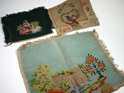 A Collection of 19th Century Antique Wool Embroidered Panels.