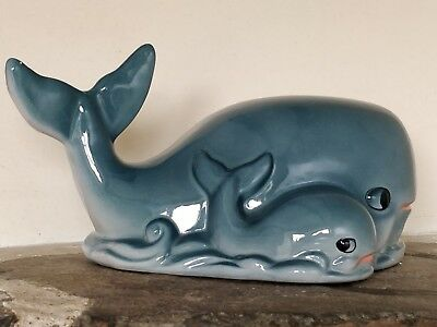 Tirelire vintage céramique baleine et son bébé - coin bank , money box kitsch
