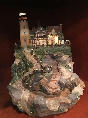"""Resin Lighthouse Water Fountain Sounds of Ocean Works Well 11"""" Tall"""