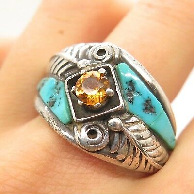 Carolyn Pollack Old Pawn Sterling Silver Turquoise Citrine Gem Men's Tribal Ring