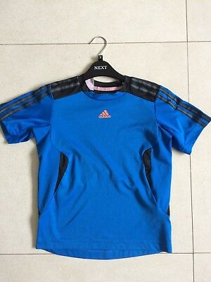 Boys Adidas Electric Blue Climacool T Shirt Top Sport Age 10-11 Yrs