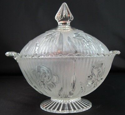 Vintage Iris & Herringbone Jeannette Depression Glass Covered Candy Dish