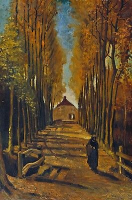 Vincent van Gogh Avenue of Poplars at Sunset Hand Painted Canvas Oil Painting
