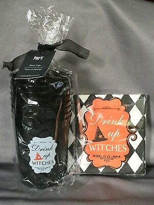 NEW MIP Pier 1 Halloween Party 20 Napkins & 8 Cups DRINK UP WITCHES 2017 Retired