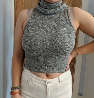 River Island Turtle Neck Grey Fitted Vest Cami Top Cropped Size 12