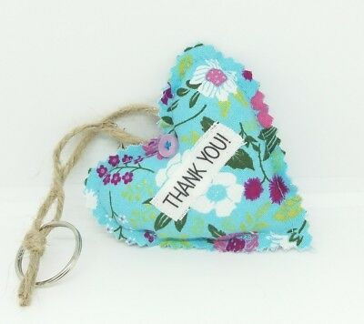 Thank You Gift Tag Fabric Heart Keyring  with Twine Loop