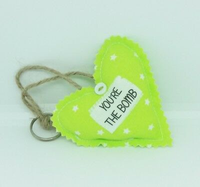 You're the Bomb Gift Tag Fabric Heart Keyring You're the Best Novelty Bath Bomb