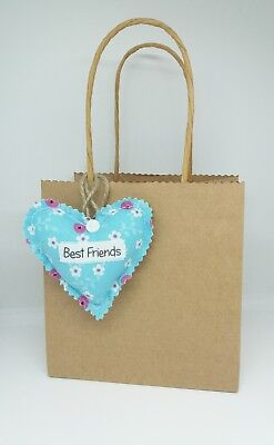 Best Friends Gift Tag Fabric Heart Keyring  with Twine Loop Friends Forever