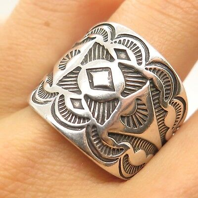 Carolyn Pollack Old Pawn Sterling Silver Textured Native Signs Men's Tribal Ring