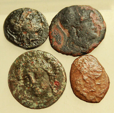 Lot of 4x Greek  Bronze Coins  D=17-19mm