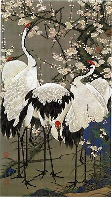 Plum Blossoms and Cranes, c. 1760 by Itō Jakuchū. Japanese Art Reproduction
