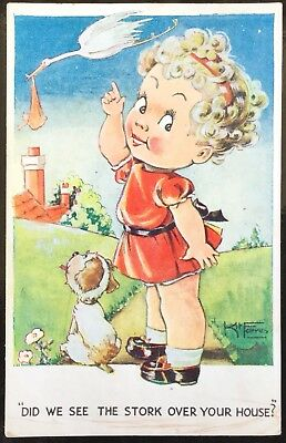 Did We See The Stork Over Your House ? - Kit Forres 1946 Postcard
