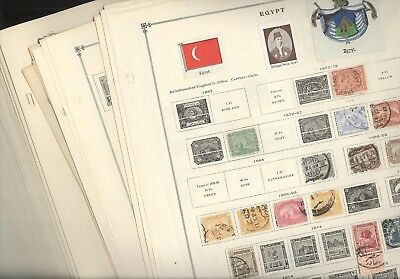 EGYPT, Assortment of Stamps hinged on remainder overlapping pages