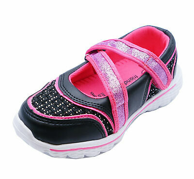 Girls Kids Childrens Pink Black Slip-On Plimsoll Trainer Pumps Shoes Sizes 4-9