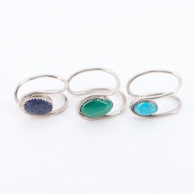 Sterling Silver Lot of 3 NAVAJO Lapis Malachite Turquoise Jewelry Clips - 11g
