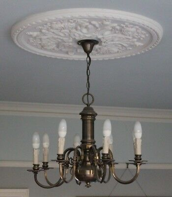 "Large Antique Vintage 8 Arm Brass Chandelier 26"" wide"