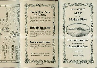 1910 Foldout Sight-Seeing Map of the Hudson River by W.H. Radcliffe