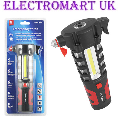 Car Emergency Led 3W Cob Work Light Hammer Torch Seat Belt Cutter Flashing Red