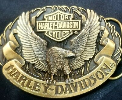 1992 Oval Harley Davidson Belt Buckle With Eagle With Outstretched Wings