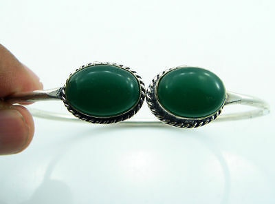 925 Silver Plated Green Onyx Ethnic Indian Bracelet / Bangle 1809