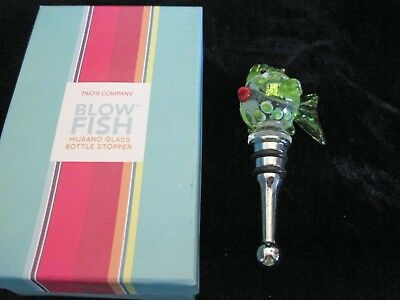 Gorgeous Twos Company ART DECO GLASS Fish Wine Bottle Stopper Murano Glass