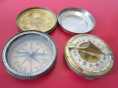 2 ANTIQUE 19th C - SMALL  POCKET COMPASS - COMPASSES  1 Also has SUN DIAL  #10