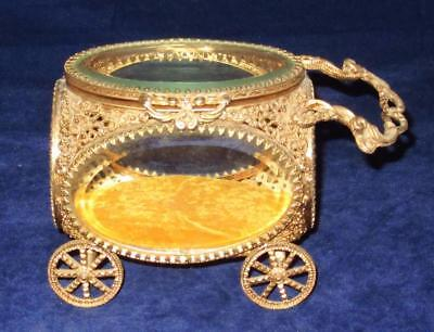 """Antique Carriage Style Hinged Jewelry Casket, France, 4"""" Tall"""