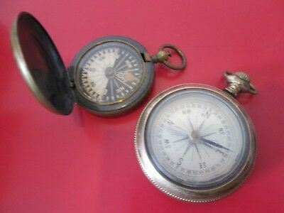 2 ANTIQUE 19th C  POCKET WATCHED SHAPED  COMPASS - COMPASSES   #11