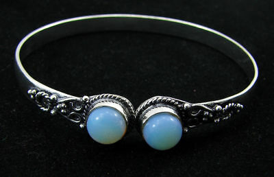 925 Silver Plated Milky Opalite Gemstone Antique Indian Bracelet / Bangle 1439