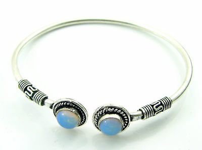 925 Silver Plated Milky Opalite Gemstone Antique Indian Bracelet / Bangle 1456