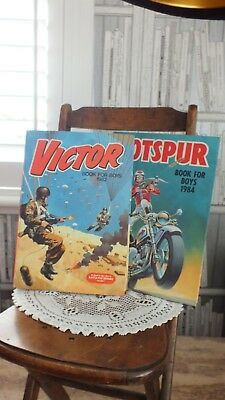 2 Boys Annual  Books Hotspur 1984 & Victor 1982  Craft Project Decoupage