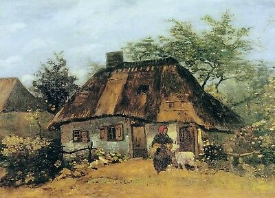 Vincent van Gogh Cottage and Woman w Goat, 1885 Hand Painted Canvas Oil Painting