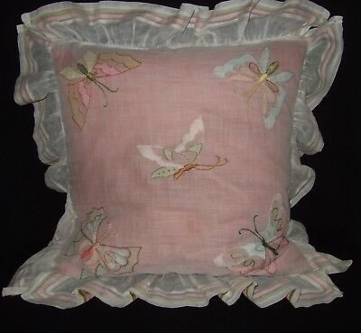 Vintage Boudoir Pillow Butterfly Embroidered & Appliqued Silk Ribbon Trim