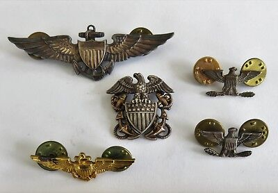 FIVE (5) WWII United States Navy Insignia Pins Vrs Makers, Sterling, Gold Filled