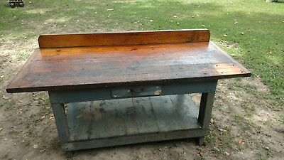 VTG Butcher Block Industrial Table WORK BENCH Island handmade