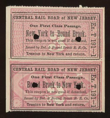 Train Tickets~Central Railroad of New Jersey Excursion~Bound Brook,NJ~1870s
