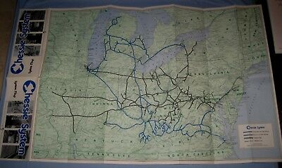 """VTG 1973 USA Chessie System RR Color Map 32 3/4"""" X 20"""" Folded!"""