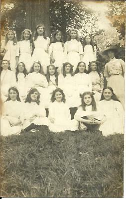 School Girls Posing With Teacher (Real Photographic Sepia Postcard) 1913