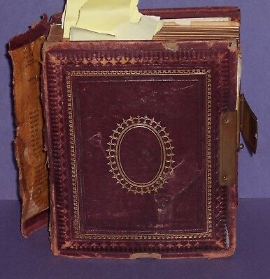 VINTAGE  SMALL PHOTO ALBUM complete - 40 PHOTOS TOTAL  -WITH 4 OF THEM TIN TYPES
