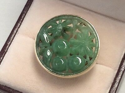 Vintage Carved Jade Jadeite 14k Yellow Gold Floral Ring
